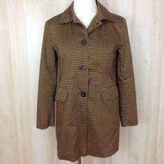 WORTHINGTON Women's Stretch Brown Print Lined Jacket Lt. Weight Coat Size 10 #Worthington #BasicJacket