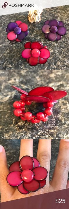 Unique Tagua flower rings! This ring is made from Organic Tagua, which is the seed of the palm tree fruit, otherwise known as Vegan Ivory. It is hand picked, carved, colored, designed and placed together to make a delicate yet natural looking ring. The color is waterproof and will not fade. Tagua, being a natural material has blemishes which gives it an elegant yet a more natural look. Each ring sold separately. Jewelry Rings