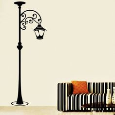 Creative Width Lamp Post Wall Decal