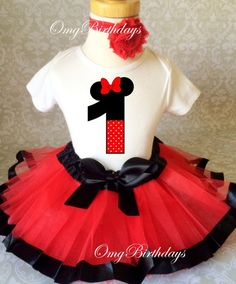 Fast Ship Birthday Red Black Minnie Mouse Inspired Ears Polka dots 1 first 1st Shirt & Tutu Set Girl Outfit Party Dress 6 9 12 18  month by BirthdayTutuOutfits on Etsy https://www.etsy.com/listing/217196105/fast-ship-birthday-red-black-minnie
