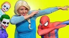 Frozen Elsa DANCING w/ SPIDERMAN In a Car! BAD BABY Joker & JOKERS Dab D...