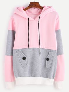 Shop Color Block Drawstring Hooded Sweatshirt With Pocket online. SheIn offers Color Block Drawstring Hooded Sweatshirt With Pocket & more to fit your fashionable needs. Fleece Hoodie, Sweater Hoodie, Hooded Sweatshirts, Pullover, Hoody, Pink Sweater, Pijamas Women, Lolita, Fashion Outfits