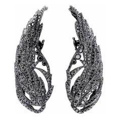 Runa Jewelry Wings Night Black Diamond Earrings ($9,809) ❤ liked on Polyvore featuring jewelry, earrings, black gold, wing jewelry, sparkle jewelry, fine jewellery, fine jewelry and earring jewelry
