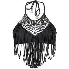 Luli Fama Black Crop-top Swimsuit Top With Macramé And Fringe Detail -... ($96) ❤ liked on Polyvore featuring tops, black, spandex tops, hippie tops, spandex crop top, hippie crop top and fringe top