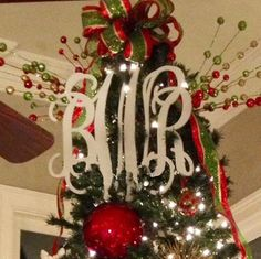 Love the Initial Outfitters monogrammed treetopper! Gotta have one!
