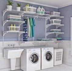 Maria do Varal: Verticalize sua área de serviço para ter mais espaço. Veja essa lavanderia que super clean!