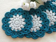 Items similar to Coasters Crochet Coasters Crochet Placemats Kitchen Doilies Crochet Doily Round Placemat Diy Crochet Patterns, Crochet Coaster Pattern, Crochet Flower Tutorial, Crochet Chart, Crochet Motif, Crochet Flowers, Crochet Stitches, Knit Crochet, Crochet Circles