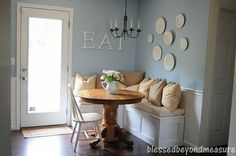 dining room bench seating love this bag the plates on the wall