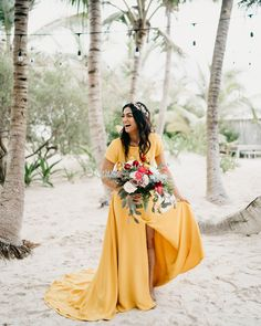 Wedding Budget This Tulum bride wore a unique marigold dress to add to the fun vibrant feel of this wedding Non White Wedding Dresses, Wedding Dress Types, Wedding Gowns, Wedding Dresses Non Traditional, Yellow Dress Wedding, Wedding Ceremony, Wedding Rings, Offbeat Bride, Nontraditional Wedding