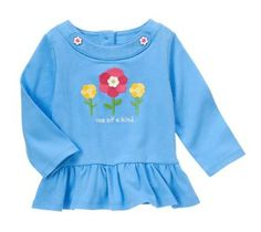 Blue Flower Top Gymboree Baby Girl Clothes 6-12 Months Machine washable Size Chart