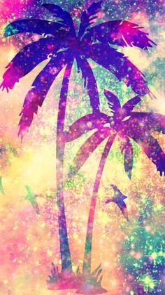 Galaxy Palm Trees Wallpaper