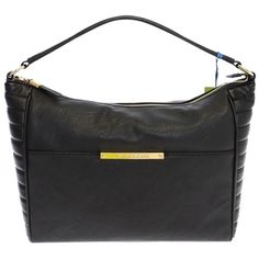 Pre-owned Versace Jeans Eco Leather Hobo Satchel Eb902965 Black Tote... ($405) ❤ liked on Polyvore featuring bags, handbags, tote bags, black, black tote bag, black purse, black zipper tote, black tote and black handbags