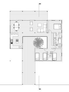 Modern Small House Design, Modern Villa Design, Modern House Plans, Small House Plans, House Floor Plans, Villa Plan, Casa Patio, Bungalow House Design, Courtyard House