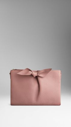 Knot-Detail Grainy Leather Clutch Bag | Burberry