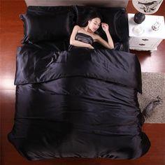 2016 Hot Silk Quilt Black Satin Sheets Bed Linen Cotton Solid Satin Duvet Cover Set King Size Bedsheet 4pcs of Bedding Sets