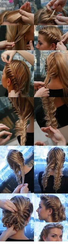 We <3 this! Stray away from traditional three stranded braids with this fishtail updo.