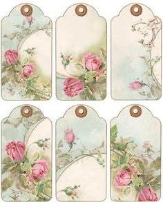 12 Hang Gift Tags Cottage Chic Roses Images 844 A Vintage Tags, Vintage Labels, Vintage Ephemera, Vintage Gifts, Vintage Paper, Shabby Vintage, Vintage Flowers, Vintage Floral, Shabby Chic