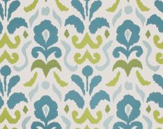 Turquoise Upholstery Fabric - Modern Ikat Turquoise and Apple Green Fabric - Linen Drapery Fabric Yardage