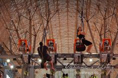 Zip-liners on Fremont Street Experience