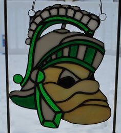 Stained glass Michigan State mascot S-Party Spartan by ManemannArt