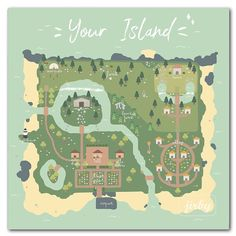 Nintendo Switch Animal Crossing, Animal Crossing Funny, Animal Crossing Wild World, Animal Crossing Guide, Animal Crossing Villagers, Animal Crossing Qr Codes Clothes, Island Map, Island Life, Map Layout