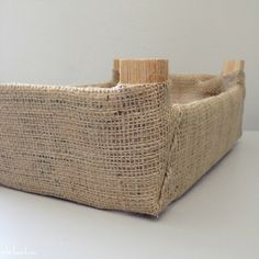 burlap covered clementine crates - great and cheap way to have matching boxes on my shelves. ADORABLE to embellish too.