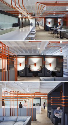 This Office Design Uses Orange Pipes To Guide People Around The Space Studio BV have designed the Field Nation offices that were inspired by a circuit board and features orange conduit piping throughout, guiding people to the various areas of the office. Design Studio Office, Corporate Office Design, Office Space Design, Corporate Interiors, Workplace Design, Office Interior Design, Office Interiors, Office Designs, Corporate Offices