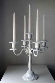 Wedding Gift for Alexa and Ashley - White Candelabra with Candles