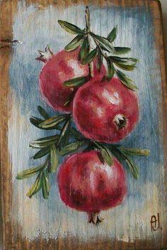 (notitle) – Ana Jota – Join in the world of pin Acrylic Painting Canvas, Acrylic Art, Painting On Wood, Ceramic Painting, L'art Du Fruit, Fruit Art, Pomegranate Art, Soft Pastel Art, Fruit Painting