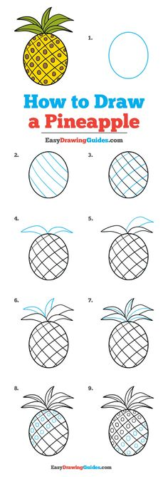Learn How to Draw a Pineapple: Easy Step-by-Step Drawing Tutorial for Kids and Beginners. See the full tutorial at easydrawingguides. painting ideas easy step by step Cute Easy Drawings, Art Drawings For Kids, Doodle Drawings, Drawing For Kids, Art For Kids, Sketching For Kids, Basic Drawing, Drawing Lessons, Drawing Techniques