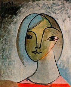 """Bust of Woman"".Artist: Pablo Picasso Completion Date: 1936 Style: Cubism, Surrealism Period: Neoclassicist & Surrealist Period Genre: portrait Technique: oil Material: canvas Dimensions: 55 x 46 cm. Pablo Picasso, Picasso Cubism, Picasso Paintings, Portraits Cubistes, Cubist Portraits, Picasso Portraits, Art Et Illustration, Georges Braque, Inspiration Art"