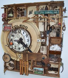 A tribute to the cotton mills of SC--Assemblage Art--Kathy Moore: artist www.kathymooreart.com