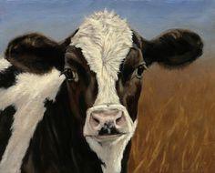 "Holstein Calf Portrait by denise rich Oil ~ 16"" x 20"""