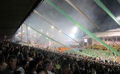 Vibração da torcida da Mancha Verde durante o desfile da escola, que homenageou o compositor e ator Mário Lago
