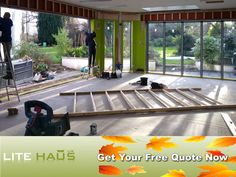 Lite Haus UK hard at work for one of their customers. Here they are installing aluminium windows and doors