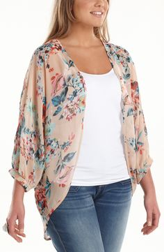Floral Batwing Summer jacket/Floral         Style No: JK11075    Printed Georgette throw on batwing jacket.    It has a scooped hemline at the back.    This is such a versatile easy wear jacket. #fashion #plussize #2013