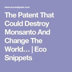 The Patent That Could Destroy Monsanto And Change The World… | Eco Snippets