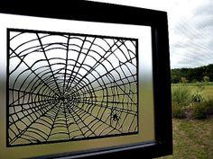 Spider Web TWO Sided Handmade PaperCut Art Silhouette Scherenschnitte 11 x 14