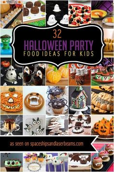 How do you make a boy's Halloween party more fun? By serving themed Halloween Party Food! Halloween Party Themes, Halloween Appetizers, Halloween Dinner, Halloween Kids, Halloween Treats, Halloween Birthday, Halloween Stuff, Spooky Treats, Festivus
