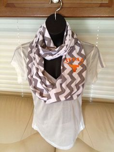 University of Texas Longhorns Gray and White Chevron Infinity Scarf by LilCsBoutique
