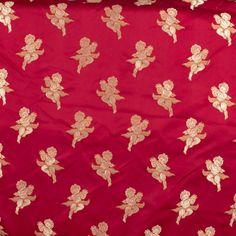 Cherub Satin Red Gold Fabric Upholstery Drapery Decor Vtg Designer Brocade BTY #Unbranded