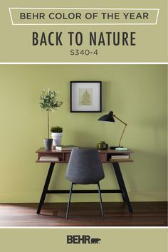 Looking for the perfect pop of color for your next DIY home makeover project? Get inspired by the Behr paint 2020 Color of the Year: Back to Nature. This light green hue adds a fun and refreshing style to this plant-inspired home office. Click below to discover more home decor inspiration.