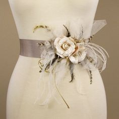 "bought this for my bridal shower ... ""Vintage inspired old rose wedding flower sash"" by Erica Elizabeth Designs!"