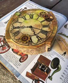 $24. Decoupage Treasure Box. Wooden Decorative Clock by GritlyArtDecor