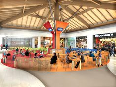 """Restyling project food court """"Shopping Centre Auchan Cuneo"""", Italy by Tecnostudio"""