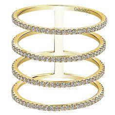 14k Yellow Gold Diamond Wide Band