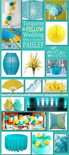 Turquoise and Yellow Wedding {with a hint of PAISLEY} inspiration board