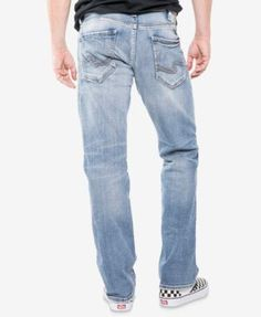 Silver Jeans Co. Men's Eddie Relaxed Athletic Fit Tapered Stretch Jeans - Blue 33x30