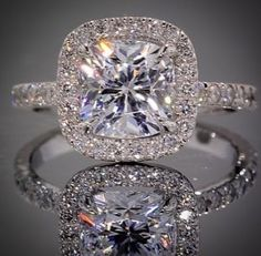Terrific Images Delicate Princess Cut Diamond Prong Halo Engagement Ring In White Gold Suggestions Are you currently searching for inexpensive wedding bands? At EFES you'll find wedding bands from Wedding Engagement, Wedding Bands, Wedding Ring, Princess Wedding, Solitaire Engagement, Gold Wedding, Bridal Rings, Platinum Wedding, Renewal Wedding