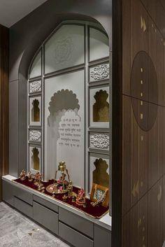 Bandhani Influences This Apartment by Studio 17 - an Architect in Surat. Pooja Room Door Design, Home Room Design, House Design, Loft Design, Design Design, Temple Room, Home Temple, Temple Design For Home, Mandir Design